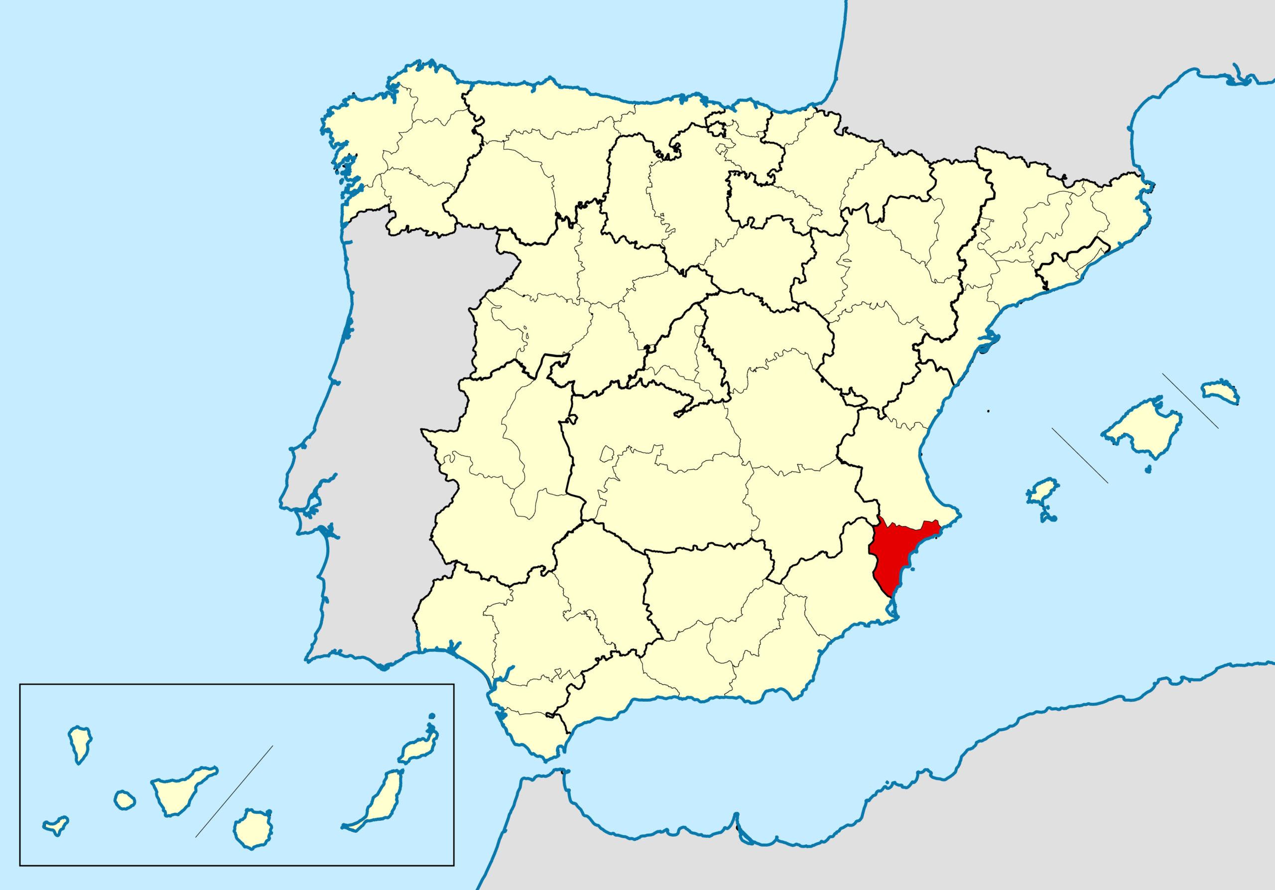 Alicante in der Spanien Landkarte